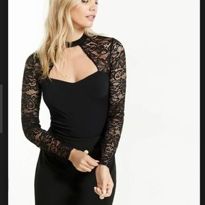 NWOT Express Chocker Cut Out Lace Sleeve Blouse